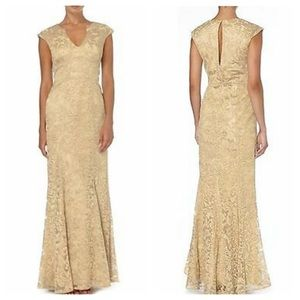 JS COLLECTIONS V-NECK METALLIC ROSE GOLD GOWN
